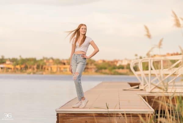 Beautiful girl photoshoot outdoors with a pretty view
