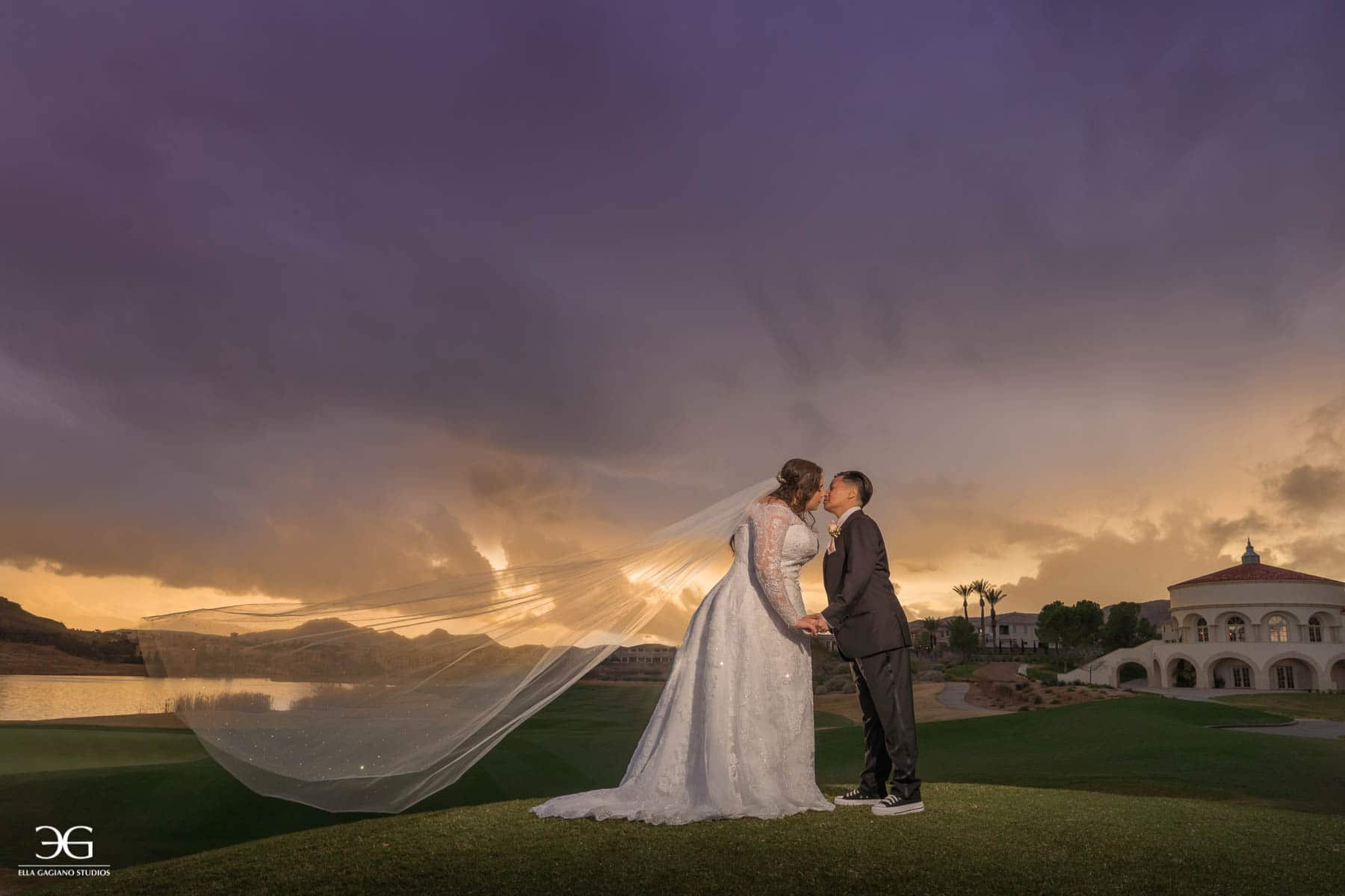 Wedding Photoshoot Outdoors With a Beautiful Sunset