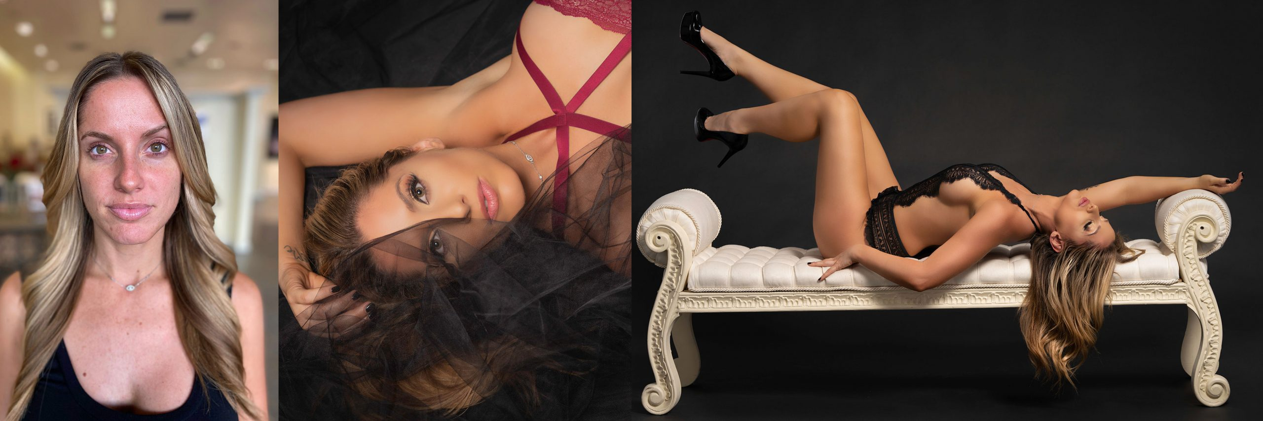 Samantha before and after boudoir photoshoot collection.
