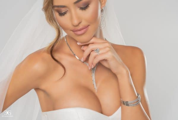 Bridal photoshoot with elegant diamond bracelet.